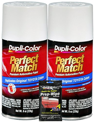 Dupli-Color Super White II Exact-Match Automotive Paint for Toyota Vehicles (8 oz.), Bundles with Prep Wipe (3 Items)