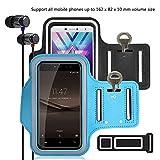 pinlu [2 Pack] Pulsera de Fitness a Prueba de Sudor para Alcatel One Touch Pop C9, Alcatel One Touch Pop C7, Alcatel Idol 4, Llave de la Puerta, Pulsera DE 5.5 Pulgadas -(Negro+Cielo Azul)