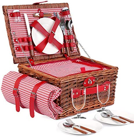 E riding Picnic Basket Set 4 Person Picnic Hamper Insulated Red Picnic Hamper Set with Waterproof product image
