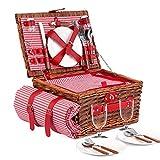 E-riding Picnic Basket Set| 4 Person Picnic Hamper, Insulated Red...