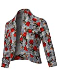 Floral Print 3/4 Sleeves Open Front Bolero Blazer - Made in USA Navy Red 3XL