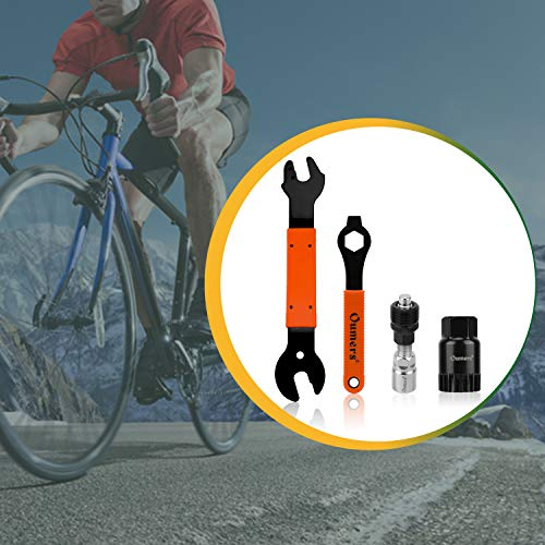 Oumers 4 PCS Professional Bicycle Pedal and Crank Arm Removal Tool, Bike Pedal Wrench+Bike Crank Extractor + Bike Bottom Bracket Remover + 16mm Spanner Wrench