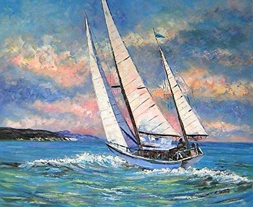 Tabella Barca Vela, Dimensione 60/90cm, orientamento orizzontale, Pittura ad Olio su tela di cotone montata su telaio in legno. Nessun lavoro di stampa. Tabella firmato.