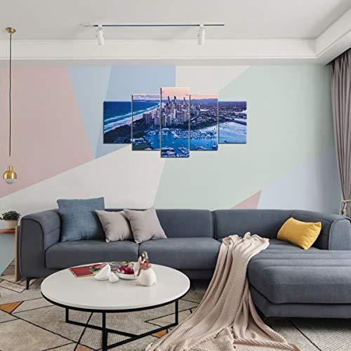 HeIrbLerRt 5 gemeinsame Malerei 3D HD Druck Leinwand Gold Coast Wohnzimmer Dekoration 150x80cm unFramed