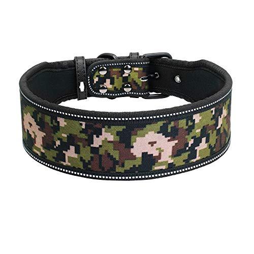 FDLFRY Reflectante Perro De Nylon del Collar, Collares para Mascotas Ajustable para La Mediana Grande Perros Pitbull Pastor Alemán,Camuflaje,31~38CM