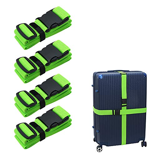 Luggage-Straps Suitcases-Belt TSA Approved - Adjustable 86 inch with Quick-Release Buckle and Organized Belt Travel Accessories (Green 4 PACK)