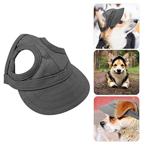 Pssopp Baseballmütze für Haustiere, Hunde Mütze Hund Sport Hut Hunde Sonnenhut Einstellbare Streifen Sommer Reise Hut mit Ohrlöcher(S-Schwarz)
