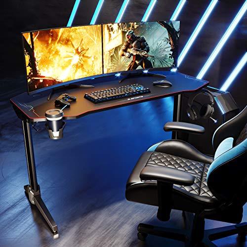 SONNI Gaming Desk da Gioco con LED, Gaming Tavolo RGB con Portabicchieri e Gancio per Cuffie, Nero 140x60x75 cm - Progettato per Giocare