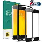 Deyooxi 2 Stück für Panzerglas Schutzfolie für iPhone 7 Plus/iPhone 8 Plus,Full Screen Panzerglasfolie mit Positionierhilfe, 9H Festigkeit Glas Folie,HD Klar Bildschirmschutzfolie,Schwarz