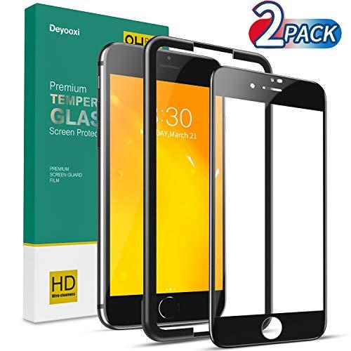 Deyooxi 2 Stück für Panzerglas Schutzfolie für iPhone 7 Plus/iPhone 8 Plus,Full Screen Panzerglasfolie mit Positionierhilfe, 9H Härte Glas Folie,HD Klar Displayschutzfolie,Schwarz