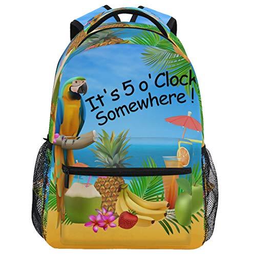 Oarencol Parrot Piña Bird Tropical Fruit Mochila es 5 O'clock Somewhere Mochila de viaje Senderismo Camping escuela portátil