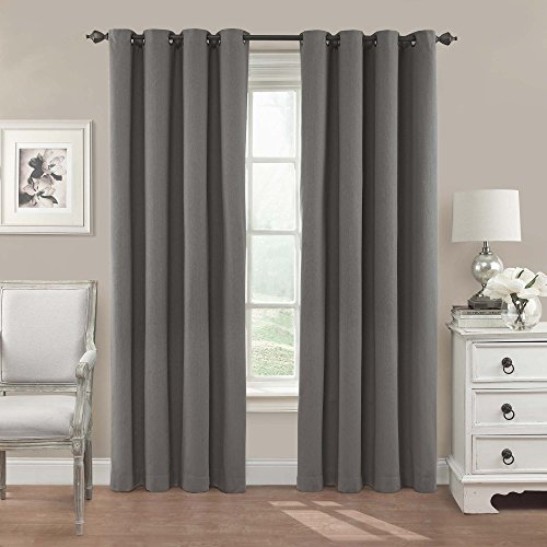 """Eclipse Nadya Solid Thermal Insulated Single Panel Grommet Top Darkening Curtains for Living Room, 52"""" x 95"""", Smoke"""