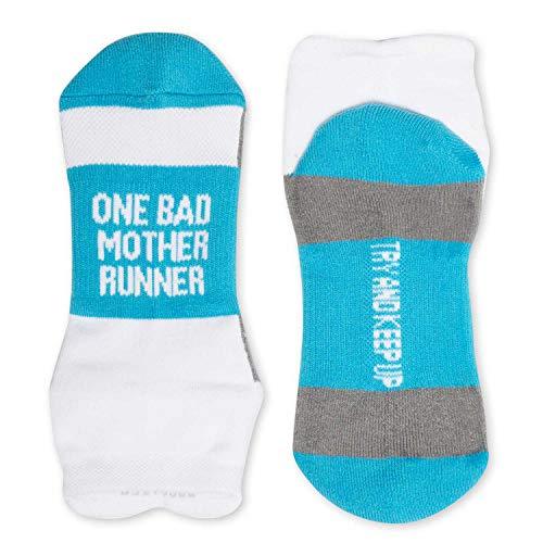 Inspirational Athletic Running Socks | Women's Woven Low Cut | Mother Runner | Blue