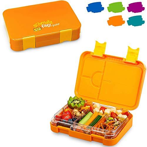 schmatzfatz junior Kinder Lunchbox, Bento Box mit variablen Fächern (Orange)