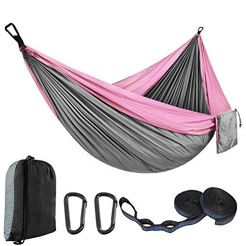 WYW Camping Hamaca,Estilo paracaídas de Nylon Hamacas,Hamaca Doble y Individual Ultraligera,para Acampada,Senderismo, Playa,Jardinería y Viaje,1