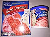 Includes 1 of each: Pillsbury Creamy Supreme Strawberry Frosting, 16 ounce Pillsbury Moist Supreme Strawberry Flavored Premium Cake Mix, 15.25 ounce As always, pudding in the cake mix- add Oil, Water, & Eggs