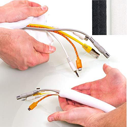 KabelOrdnung® Gewebeschlauch DeLuxe, Ø 19mm (3-6 Kabel), 2m, Weiß – Selbstschließender Geflechtschlauch, Kürzbar, Flexibler Kabelschlauch als Sicherer Kabelschutz