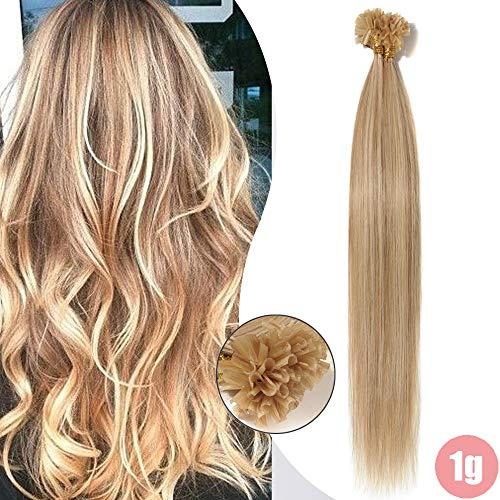Extension Capelli Veri Cheratina 1 Grammo 50 Ciocche Balayage 100% Remy Human Hair Indiani 40cm 50g (#18/#613 Beige Sabbia Biondo/Bleach blonde)