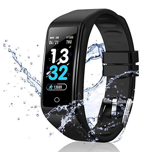 """Smartwatch Offerta Del Giorno 0.96"""", Cuffie Bluetooth, Smartwatch per Donna Uomo Impermeabile IP67 Fitness Tracker attività con Cardiofrequenzimetro Pedometro Notifiche per Android iOS- Nero"""