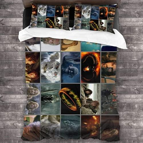 QWAS Juego de ropa de cama El Señor de los anillos, ropa de cama de El Señor de los anillos, ropa de cama de 100% microfibra, 1 funda nórdica y 2 fundas de almohada (A01,140 x 210 cm + 50 x 75