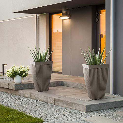 Glitzhome GH20293 Modern Decor Faux Concrete Tall Planters 22.75' H Gardening Containers Flower Pots Indoor Outdoor Use (Set of 2), Gray