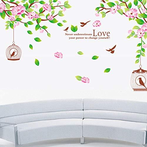 Qingmo Pegatinas decorativas de la pared del dormitorio de la jaula del pájaro de la hoja verde