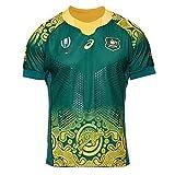 Camisetas de Rugby 2019 Copa del Mundo de Japón Australia Canguro Camisas de Hombre Ropa de Atletas Fútbol Camisetas de Manga Corta Casuales, Fibra de poliéster Secado rápido Cómodo-Green-L