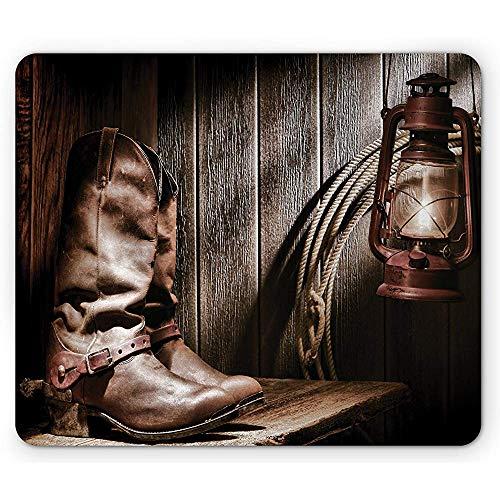 Western-Mausunterlage,Dallas Cowboys Und Laterne Auf Einer Bank Im Vintagen Ranch Folkloristischen Fotografie-Rechteck-Rutschfesten Gummimousepad