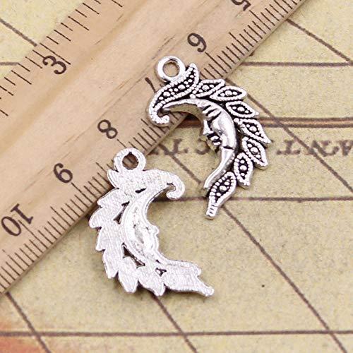 WANM 20Pcs Charms Moon 27X17Mm Tibetan Bronze Silver Color Pendants Antique Jewelry Making Diy Handmade Craft For Bracelet Necklace