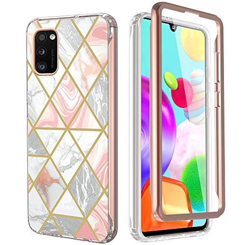 KETEEN Funda para Samsung Galaxy A41 funda compatible con protector de pantalla ultradelgada mármol 360 grados protección completa Galaxy A41 funda antigolpes carcasa para Samsung Galaxy A41, rosa