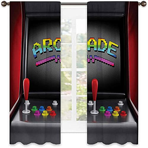 Video Games Bedroom Rod Pocket Blackout Curtains, Arcade Machine Retro Gaming Fun Joystick Buttons Vintage 80s 90s Electronic, Soundproof Shade W72 x L63 Inch Multicolor