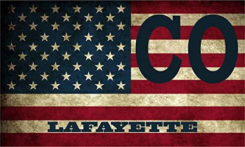 Lafayette CO Colorado Boulder County Vintage US Flag Decal Bumper Sticker 3M Vinyl 3' x 5'