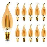 Tuoplyh 10x Bombillas LED Retro Vintage Vela Filamento E14 Luz Blanco Cálido 2700K,4W Equivalente a 40W,400LM,CRI80,AC 220V