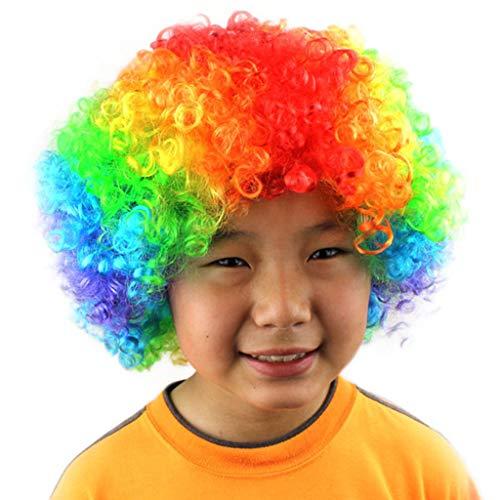 WHSHINE Unisex Kopfbedeckung Explosiver Kopf Clown Perücke Party Lustige Afro Haar Fußball Fan-Kinder Maskerade Perücke Show Lustig Schön Flauschige Weihnachten LED Perücke (F,Free)