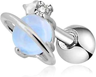 16G Stainless Steel Cartilage Earring Air Blue Opal Stone Saturn Helix Earring