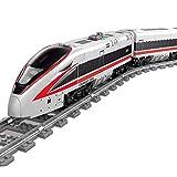 Foxcm City - Juego de construcción de tren de alta velocidad con riel y juego de iluminación, juguete para niños, 647 piezas, compatible con la técnica Lego