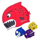 Swimtastic - gorro de piscina para niños con diseño de tiburón y pez. Entretenimiento para niños y niñas durante horas., Red Shark