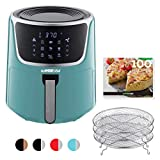 GoWISE USA GW22954 7-Quart Electric Air Fryer with Dehydrator& 3 Stackable Racks, Digital Touchscreen with 8 Functions + Recipes, 7.0-Qt, Mint/Silver