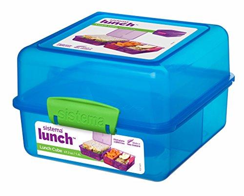 Sistema Lunchbox, quadratisch, plastik, blau / grün, 14.5 x 15 x 9.5 cm