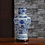 QTQHOME Blue Keramikbeschichtung Vase,traditionellen Technologie hochtemperatur Feuern Einzigartig In Vase Haushalt Dekoration Wohnzimmer Büro Hotels Kunst-g 32x19cm(13x7inch)
