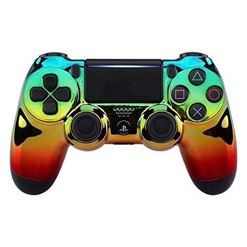 eXtremeRate PS4 Controller Hülle Case Cover Oberschale Skin Schale Gehäuse Shell für PS4 Pro PS4 Slim Playstation 4 Controller CUH-ZCT2 JDM-040 JDM-050 JDM-055(Chrome Cyan Gold Rot)