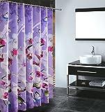 S-ZONE Duschvorhang, wasserdicht, schimmelfest, Polyester-Stoff, 182,9x 182,9cm, mit 12Haken Butterfly Orchid(180x180cm)