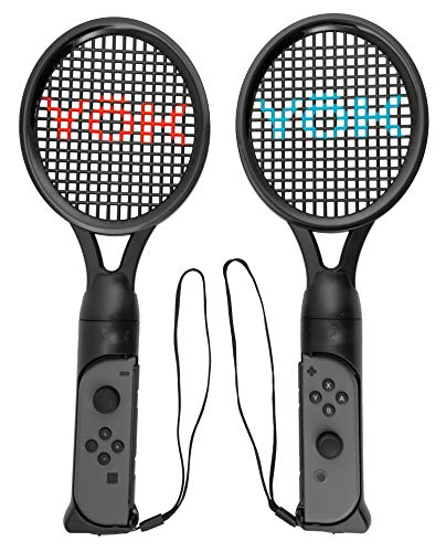 YoK Nintendo Switch Joy Con Tennis Racket 2 Pack Compatible With Games Like Mario Tennis - Blue and Red