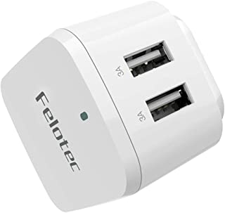 Fast Travel Wall Charger, Felotec 2-Port 30W/6A USB Charger,Rapid Travel Charger Plug with UK EU Power Adapter for Apple iPhone,iPad, Samsung, Android Phones, Tablets & More - White