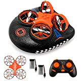 EACHINE Mini Drone for Kids,E016F Remote Control Boats for Pools and Lakes,RC Car for Kids or Beginners,3-in-1 Sea-Land-Air Mode Switchable Waterproof Auto Hovering Toy RC Quadcopter RTF(2 Batteries)