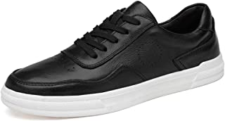 XUJW-Shoes, Athletic Shoes for Men Fashion Sports Shoes Lace Up Style OX Leather Simple Solid Color with Low Top Durable Comfortable Walking Shopping Soft (Color : Black, Size : 5 UK)