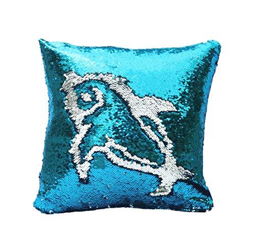 Mermaid Sequins Cushion Cover Pillow Case Reversible Sparkle Sofa Cushion Magic Swipe Glitter 40x40cm (Sky blue and Silver)
