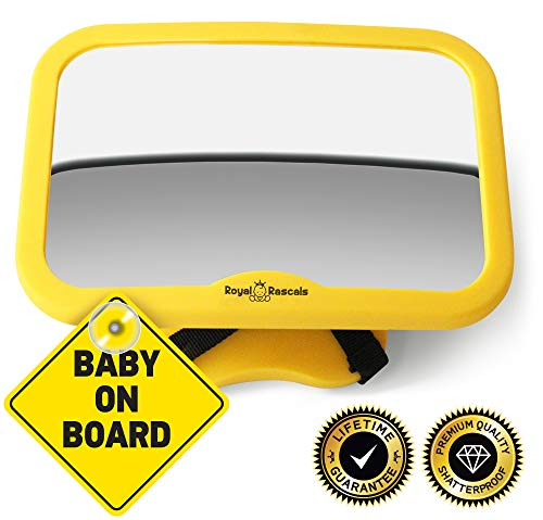 Royal Rascals - Espejo ajustable para el reposacabezas (para asiento de niño mirando hacia atrás, modelo mejorado, se adapta a cualquier asiento, 100% inastillable, producto de seguridad)