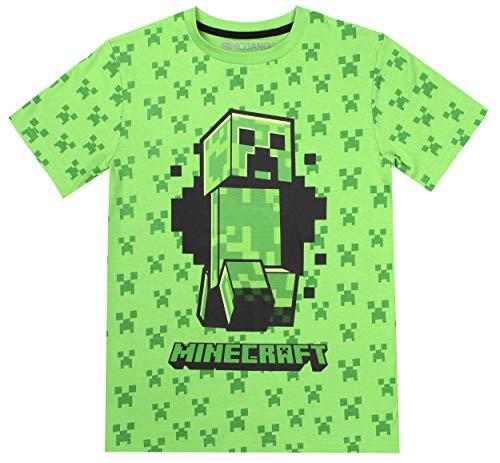 Minecraft - Vêtements T-Shirt pour garçons - Vêtements Gamer pour Enfants - T-Shirt Creeper- Cadeaux Cadeaux pour Les garçons - Vert - 7 8 Ans