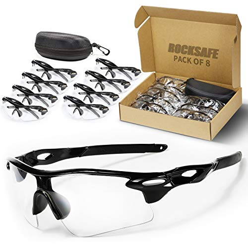 ROCKSAFE Safety Glasses (Clear) Polycarbonate Impact & Scratch Resistant, Wrap-Around UV-Block Protective Eyewear [8-Pack]